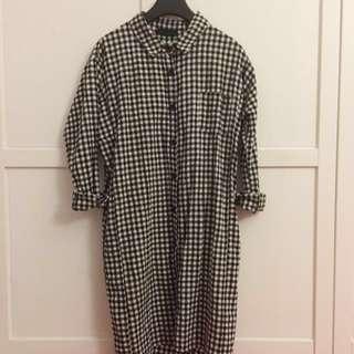 Korea Black Checkered Long Shirt Tunic