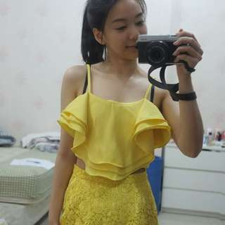 Yellow flare crop top