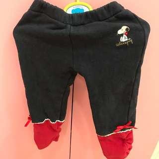 百貨童裝👶Snoopy下擺紅蝴蝶結拼接厚寶寶長褲