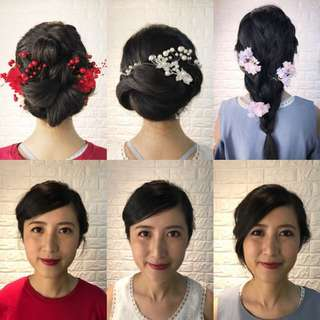 Pre-wedding makeup and hair style