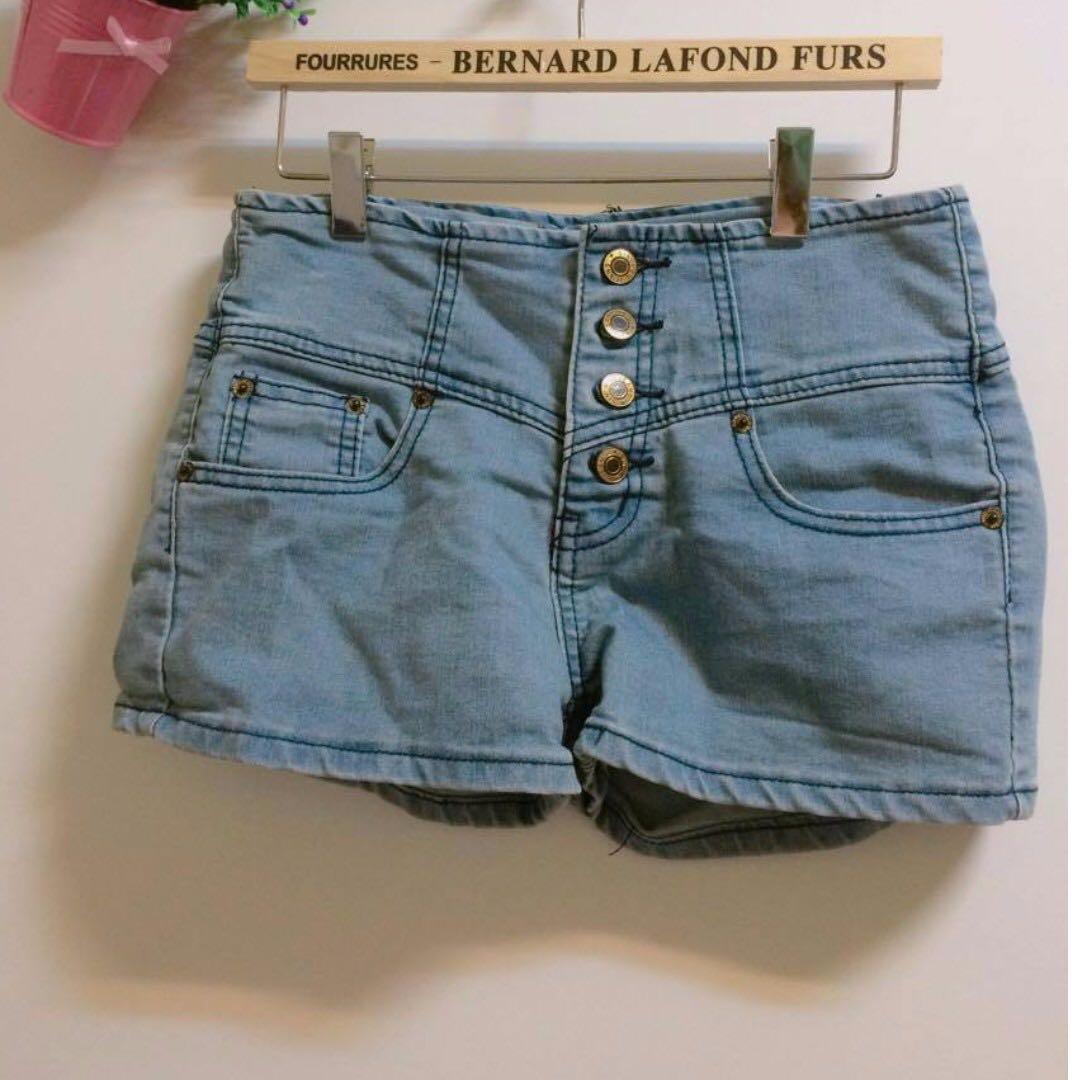 (兩件)牛仔高腰顯瘦短褲