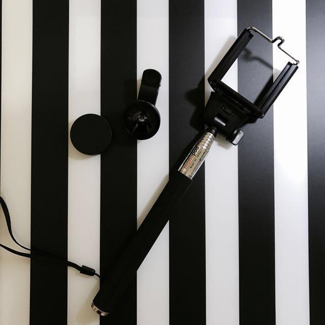 自拍棒+廣角鏡頭📷