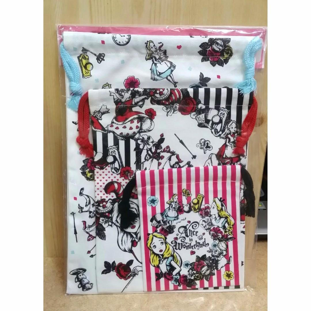 日本迪士尼Alice愛麗絲 棉布印花束口袋 三種尺寸一組