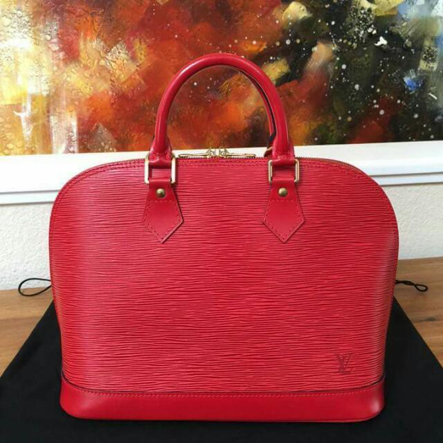 Authentic Lv Alma In Red Epi Leather