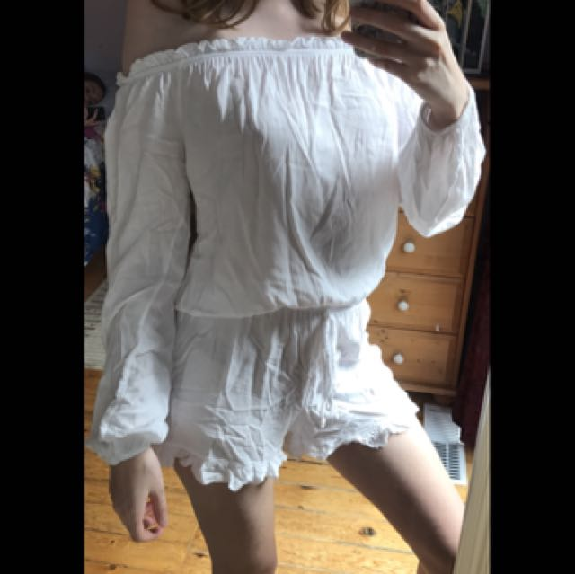 Brandy Melville White Off-the-shoulder Romper