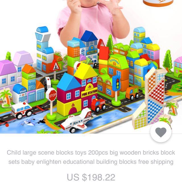 Child large scene blocks toys 200pcs big wooden bricks block sets baby  enlighten educational building blocks