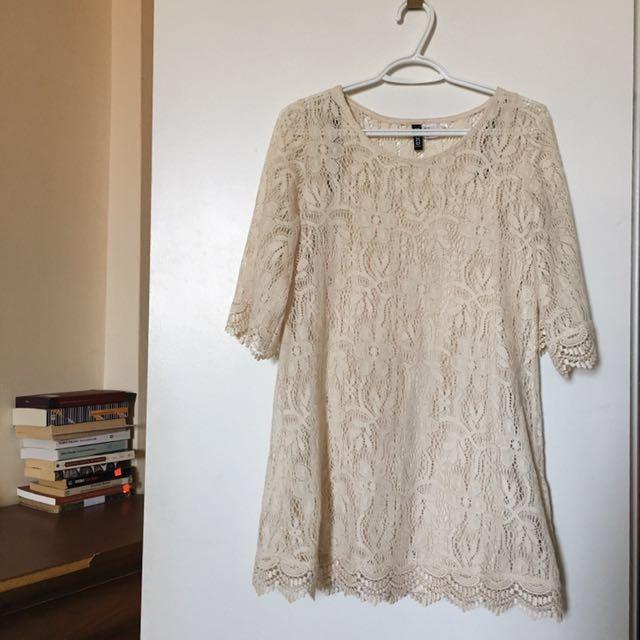 Deep Cream Mini Lace Dress