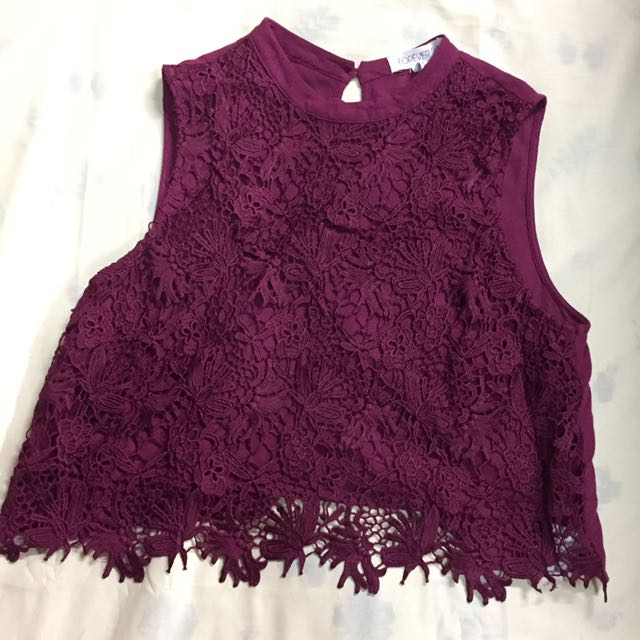 FOREVER 21 Maroon Lace Cropped Top