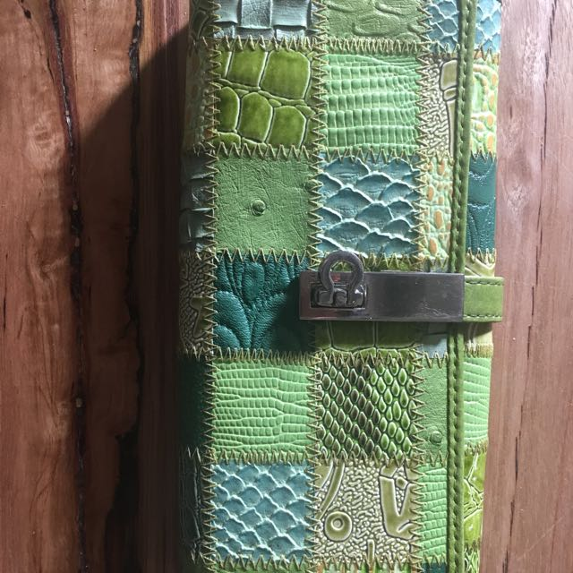 Green leather patchwork wallet