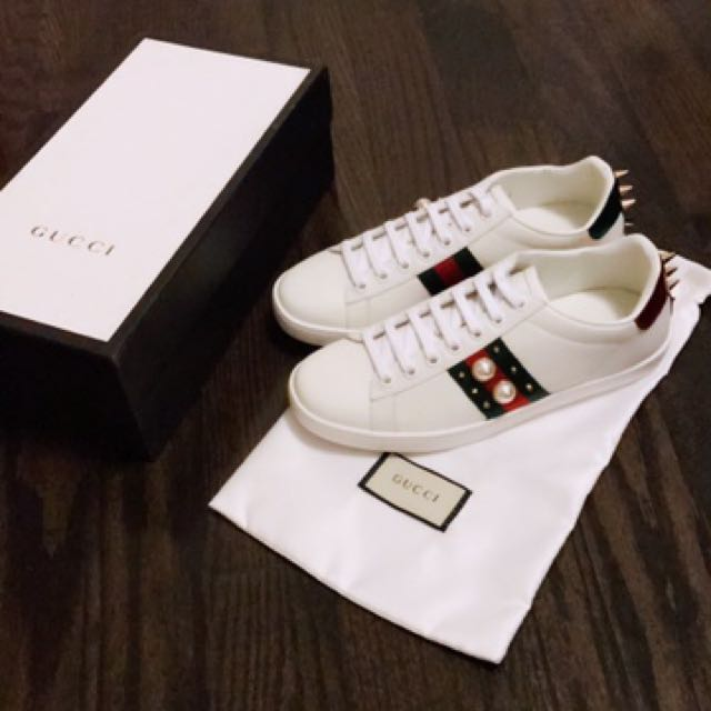 Gucci pearl & spike ace sneakers
