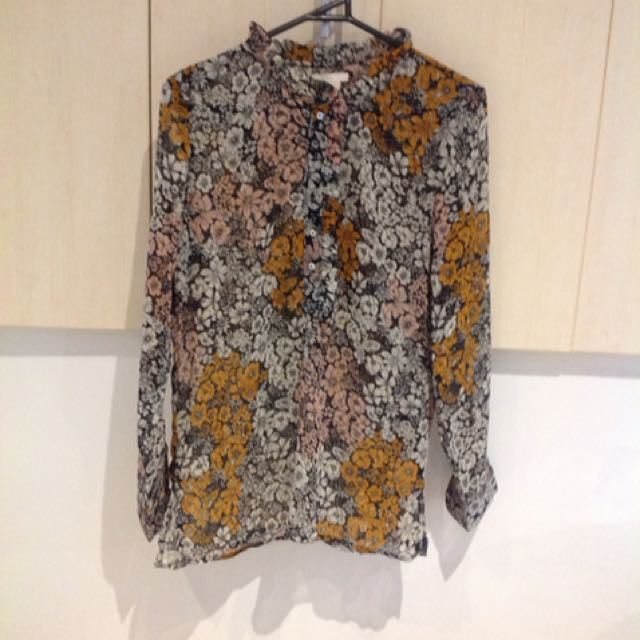 H+m sheer floral shirt/blouse size 8