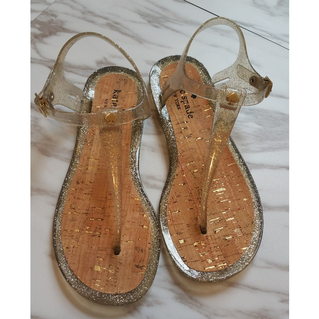 KATE SPADE NY 'YARI' GOLD SPARKLE JELLY OPEN TOE THONG SANDALS - SIZE 6 - NEW