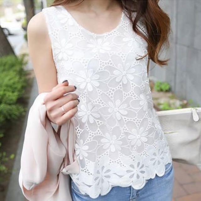 Lace Chiffon Vest