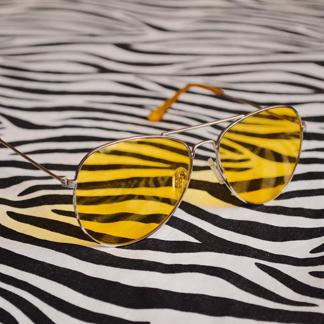 Lemon Yellow Aviator Sunglasses