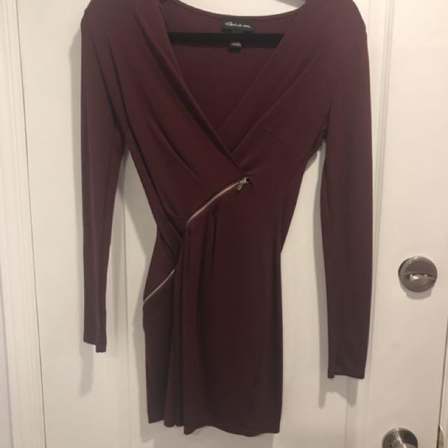 Maroon zipper wrap dress