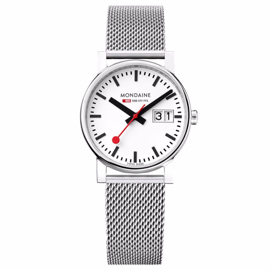 MONDAINE 瑞士國鐵時光走廊鋼鍊錶/30mm 66911SM