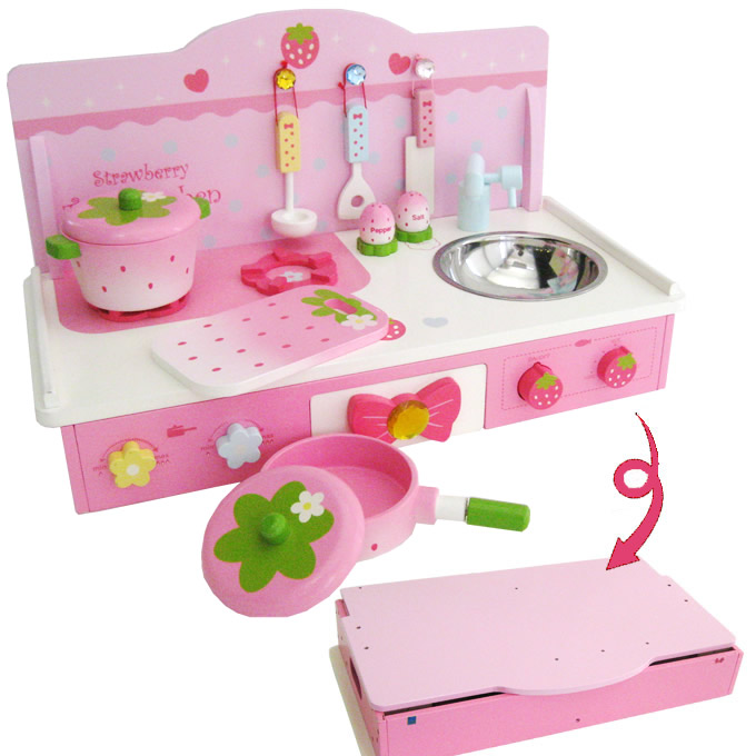 Mother garden strawberry table kitchen set toys games for Toy kitchen table