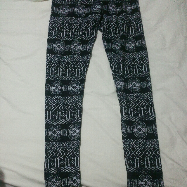 Black And White Patterned Tights Leggings