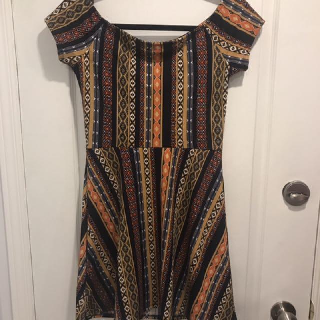 Patterned tribal print dress