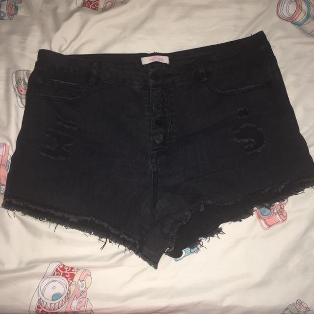 Plus size Black Denim Tattered Shorts