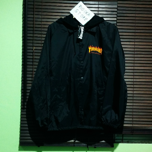 db52d2dbf731 Ready Thrasher Flame Logo Coaches Jacket With Fleece Hood Black ...