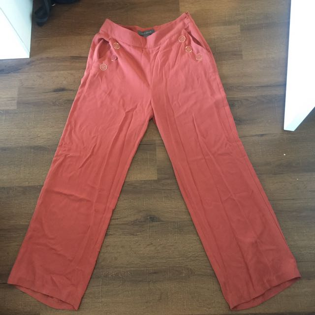 Red wide leg pants size small