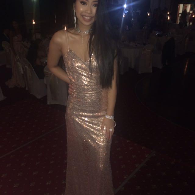 Rose gold sparkling formal dress