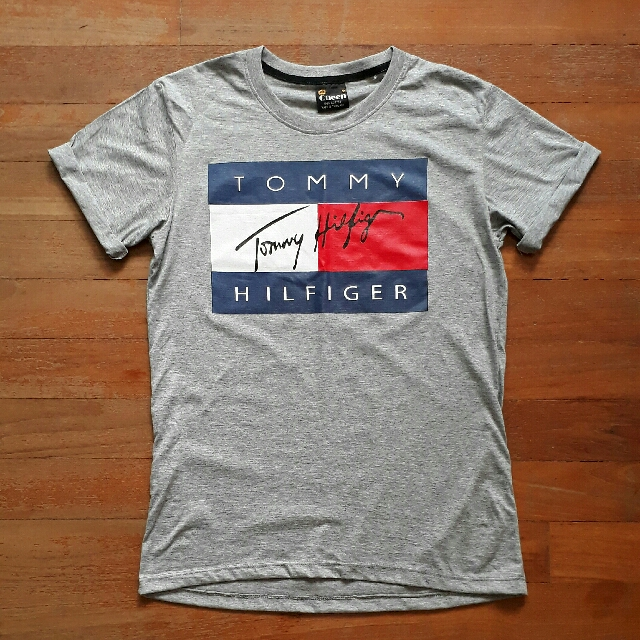 6ca6dc06 Tommy Hilfiger Signature Grey Tee Shirt Top Inspired, Women's Fashion,  Clothes, Tops on Carousell