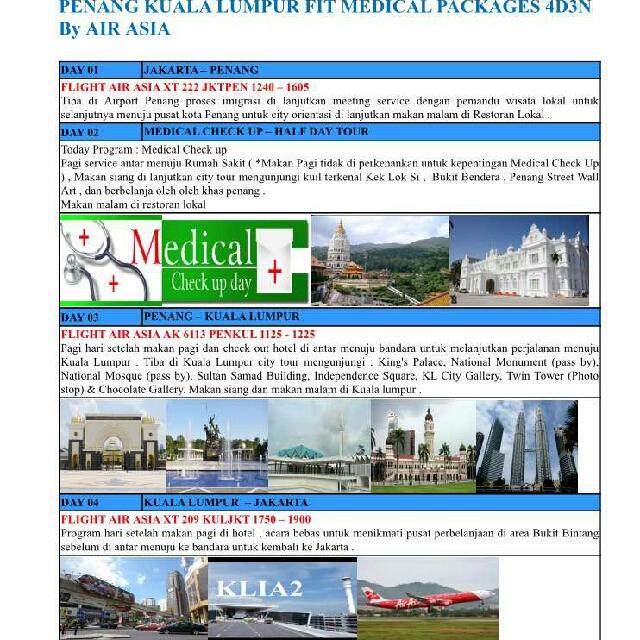 Privat Tour Malaysia Untuk 2 Orang 4D3N Full Servis Plus Gratis Medical Chekup Di penang