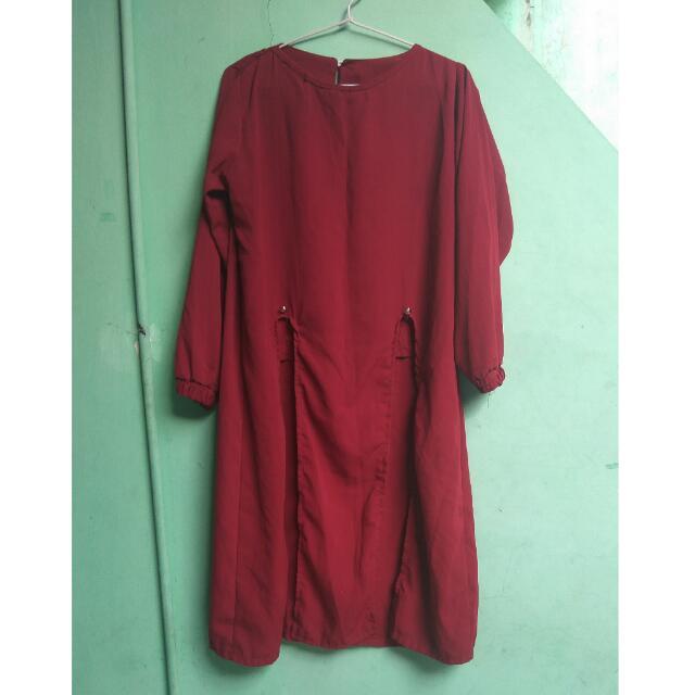 tunik kekinian merah maroon