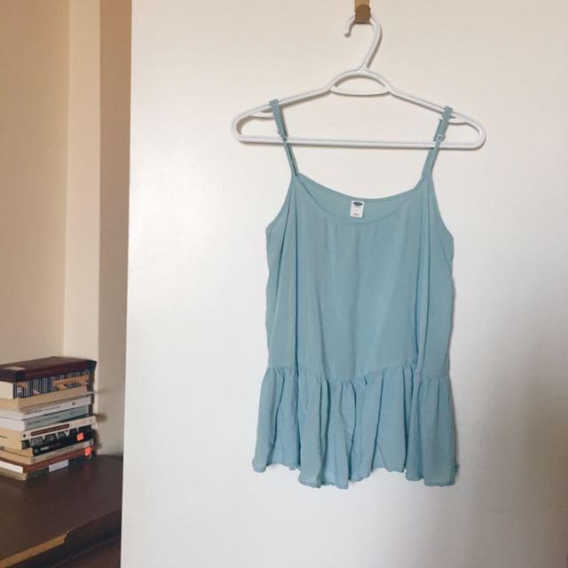 Turquoise Ruffle Sleeveless Top