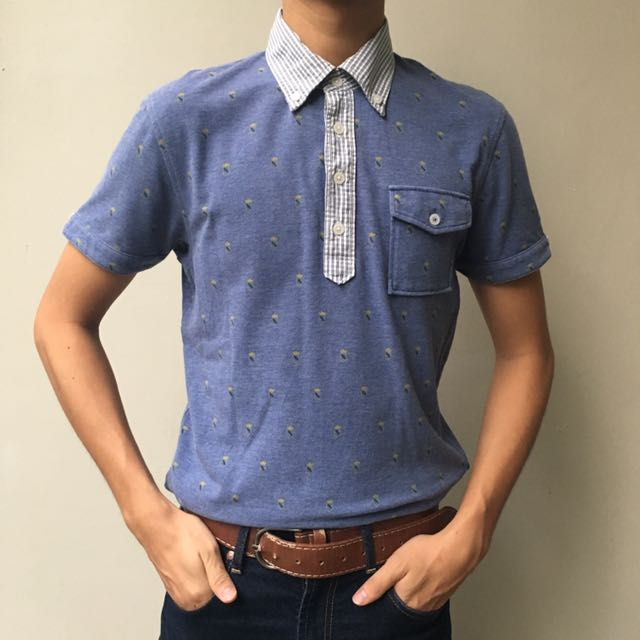 UNIQLO blue pattern shirt