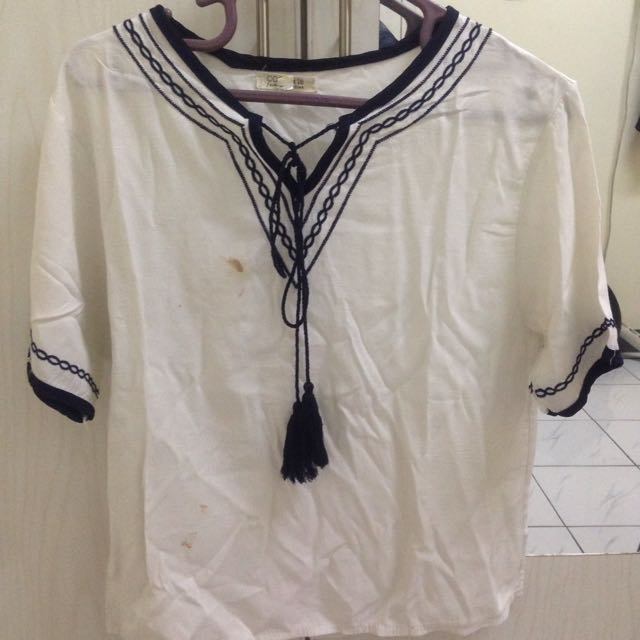 Vintage Embroidery White Shirt
