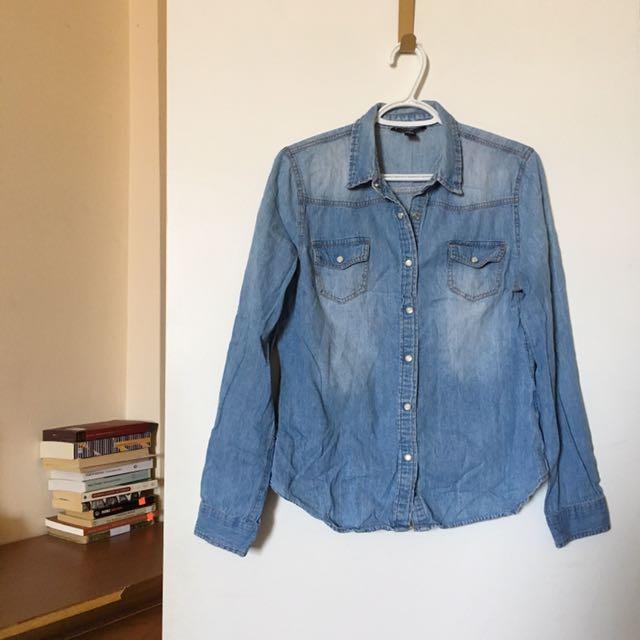 Washed Out Denim Button Down Shirt