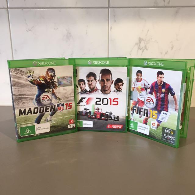 Xbox one ( Madden 2015 , F1 2015 , FIFA 2015 )