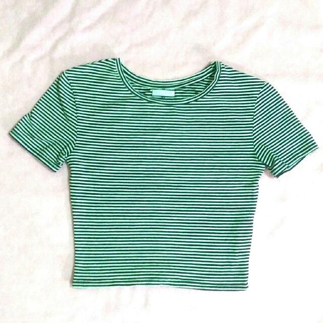 Zara短版條紋上衣