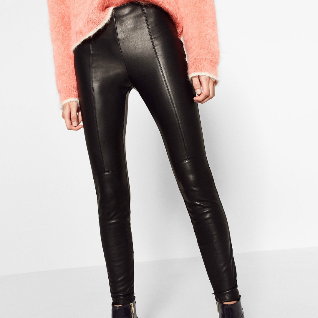Zara High Rise Black Faux Leather Pants Leggings Trousers Zips Size XS Brand New