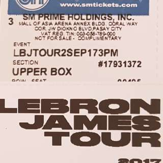 🏀Lebron James🏀 In Manila Upper Box Tickets + Free Adidas Shirt!