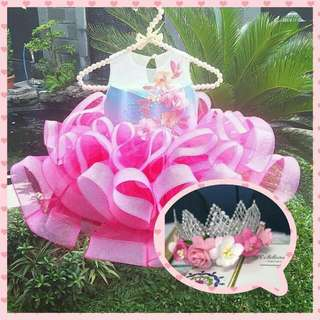 Real Pict BAJU PESTA BAYI FREE BANDO! Rossa Dress + Bando Mahkota Headband wrn Pink Kids Couture
