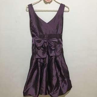 🚚 緞面貴氣紫深v小禮服
