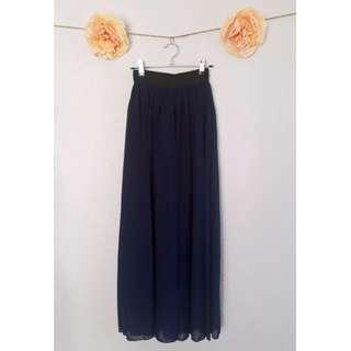 Navy Chiffon Maxi Skirt