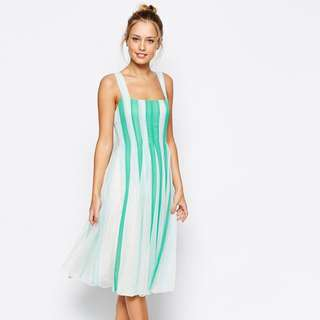 BNWOT ASOS Mesh Insert Fit and Flare Square Neck Midi Dress in Mint and Turquoise