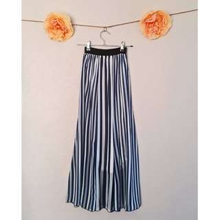 Blue & White Stripe Chiffon Maxi Skirt