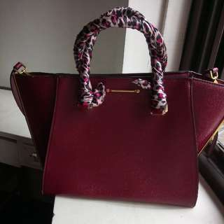 Authentic Charles and Keith Bag With Twilly Bag Handle