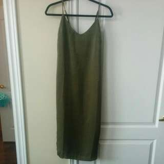 Satin Olive Green Dress (With Tag On)