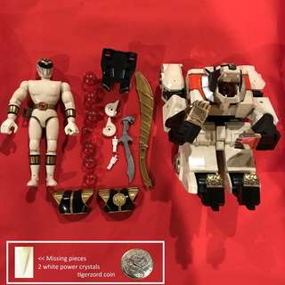 White Tigerzord and White Ranger Mighty Morphin Power Rangers Original Bandai 1994
