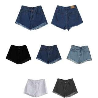 Rainbow shop 抽鬚 高腰牛仔短褲(黑色S號)