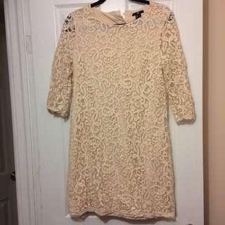Cream H&M Lace Half Sleeve Dress