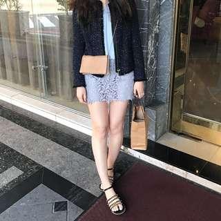 轉售dobe蕾絲雕花短裙粉紫色