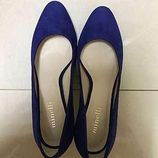 Minelli 寶藍麂皮高跟鞋